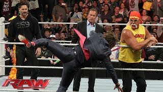 Baixar Arnold Schwarzenegger and Joe Manganiello join Hulk Hogan in the ring: Raw, March 24, 2014