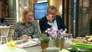 Totalt sammanbrott: Jenny och Steffo skrattar hjäl sig. - Nyhetsmorgon (TV4)