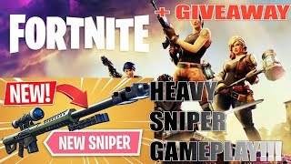 NEW *HEAVY SNIPER* GAMEPLAY FORTNITE BATTLE ROYALE!! + GIVEAWAY AT 300 SUBS!!