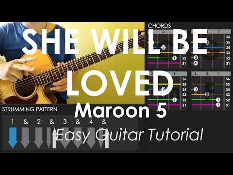 She Will Be Loved Maroon 5 Easy Guitar Tutorial No Capo Youtube