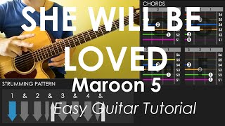 She Will Be Loved - Maroon 5 - Easy Guitar Tutorial (No Capo)