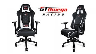 GT Omega PRO XL Racing Office Chair Black and White Leather