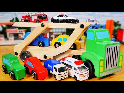 トミカも載せて遊べる! 木でできたカーキャリアーのおもちゃ♪ Car carrier made of wood