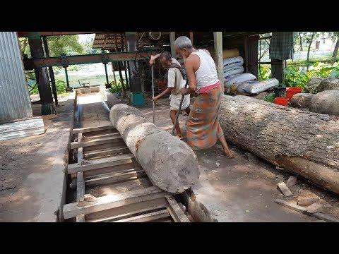 Old Craftsman Doing Dangerous Wood Cutting at Under Blade Sawmill।Wood Cutting Sawmill by Old Men