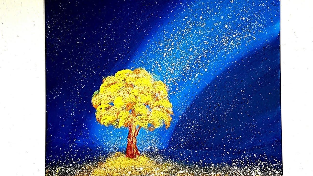 Baum Malen Mit Acrylfarben Und Schwamm Tree Acrylic Painting With Sponge