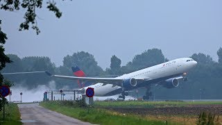 Soaked runways takeoff & landings A380, B747, B777, A330, A350