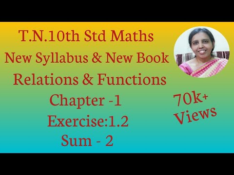 10th Std Maths New Syllabus (T.N) 2019 - 2020 Relations & Functions Ex:1.2-2