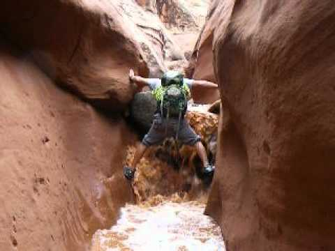 Escaping A Flash Flood In A Southern Utah Slot Canyon