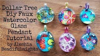 Dollar Tree Diy Faux Watercolor Glass Pendant Tutorial