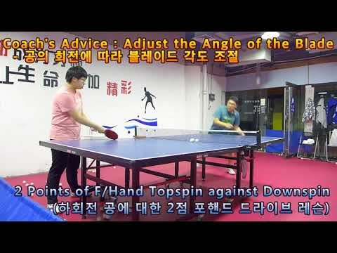 [LHTT #32_Chinese Coach Lesson] 2 Points Of Forehand Topspin Against Downspin 180812