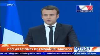 Emmanuel Macron habla tras la primera vuelta electoral en Francia