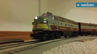 The O scale Canadian - Golden gate depot C.P. cars, pulled by M.T.H. F7 A and B and high hood GP9!