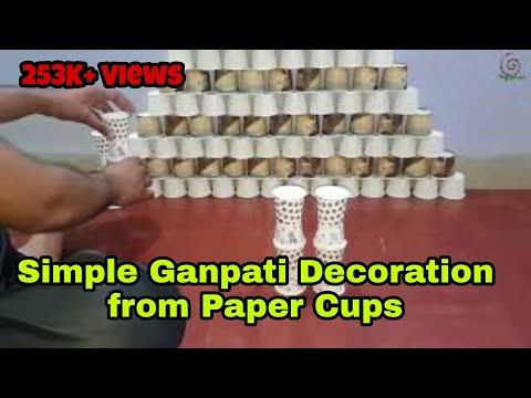 Easy and Simple Ganpati Decoration with Paper cups   Ganpati Decoration from Home