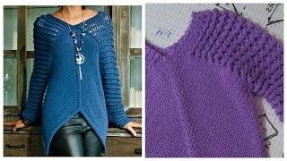 ЦЕЛЬНОВЯЗАНЫЙ ПУЛОВЕР С АЖУРНЫМИ РУКАВАМИ ПОДРОБНЫЙ МК женский свитер описание вязания