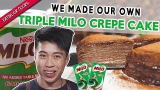 We Made A Triple MILO CREPE CAKE!   Eatbook Cooks   EP 14