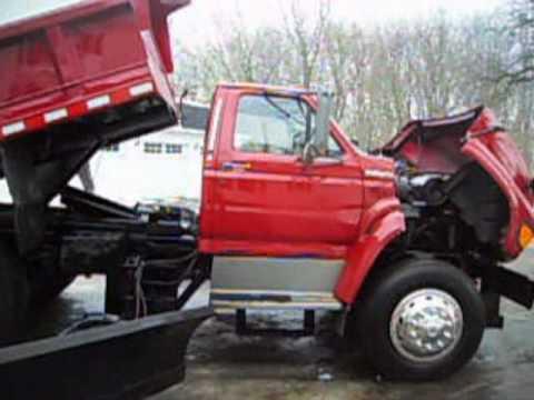 1995 ford f700 dump and snowplow truck 35k original miles