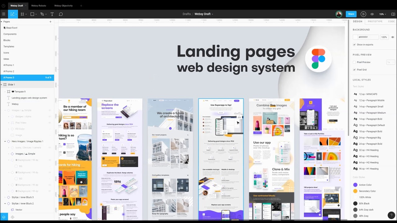 Web design system in Figma  Landing templates for desktop & mobile sites