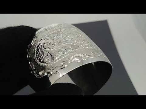 Широкий кубачинский гравированный серебряный браслет ручной работы