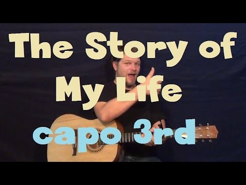 Story of My Life (One Direction) Easy Guitar Lesson Strum chord How to Play Tutorial Capo 3rd