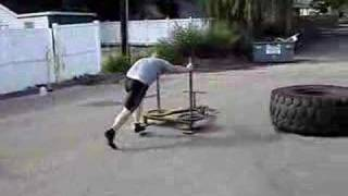 Tire flip, prowler push, kettle bell farmer