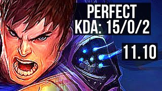 GAREN vs JAX (TOP) | 15/0/2, 11 solo kills, Legendary, 300+ games | EUW Diamond | v11.10