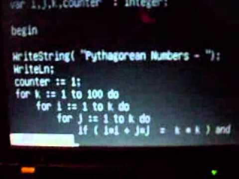 Modula2 Program displaying pythagorean numbers