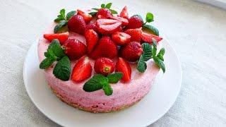 Муссовый Торт. Клубничный Муссовый Торт Рецепт. Муссовый торт без выпечки. Клубничный Десерт.