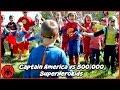 Captain America vs 500,000 SuperHero Kids Epic Battle w The Flash, Ironman Batman Pink Power Ranger