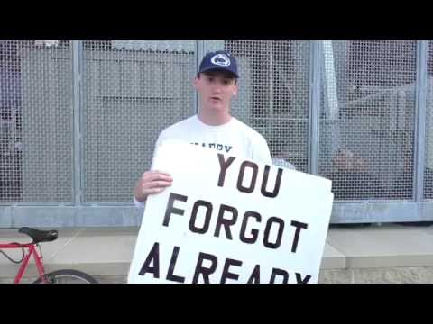 Penn State student protests the honoring of Joe Paterno