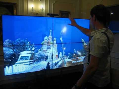 Kinect-controlled 3D panorama of Moscow on videowall