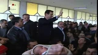 الفضائية السورية   الرئيس الأسد يزور مركز إيواء الدوير في عدرا بريف دمشق 12-3-2014