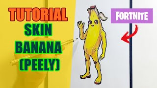 HOW to DRAW EASY the BANANA SKIN (PEELY) of the FORTNITE-Cómo Dibujar Fotnite