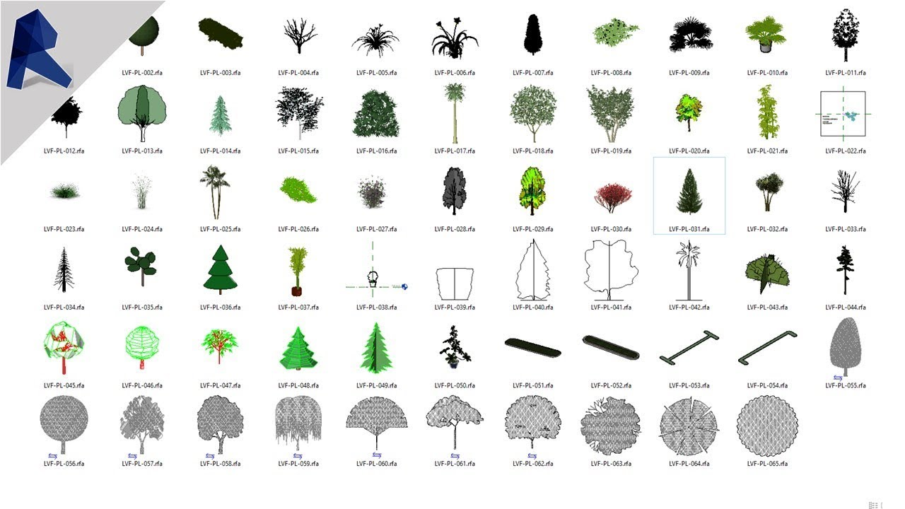 Miễn phí tải model THƯ VIỆN CÂY rfa cho Revit (Library tree family) // Thư  viện đồ họa Revit