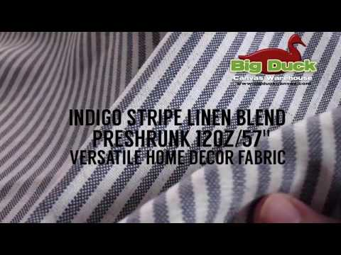 Preshrunk 12oz Stripe Linen Blend Wholesale Home Decor Fabric : INDIGO STRIPE