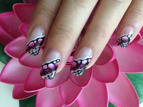 Request: One Stroke Nailart stones in pink and white with paintings
