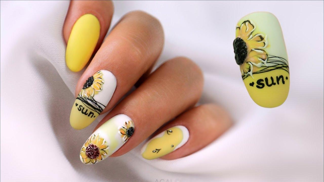 Sunflower Nail Art Sloneczniki Na Paznokciach Zdobienie Krok Po