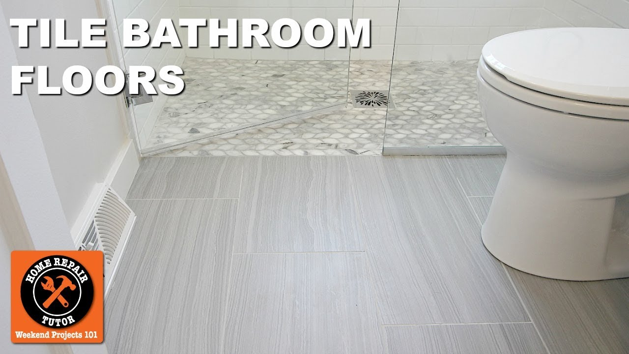 How To Tile A Bathroom Floor Next To Curbless Showers By Home Repair Tutor Youtube