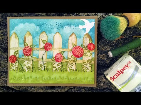 LOVE Card with DIY Clay Rose & Fence Embellishment with Hand Stitching // Stamp School