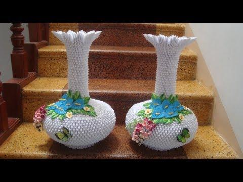 3D Origami Vase V4 Tutorial | DIY Paper Flower Vase Home Decor