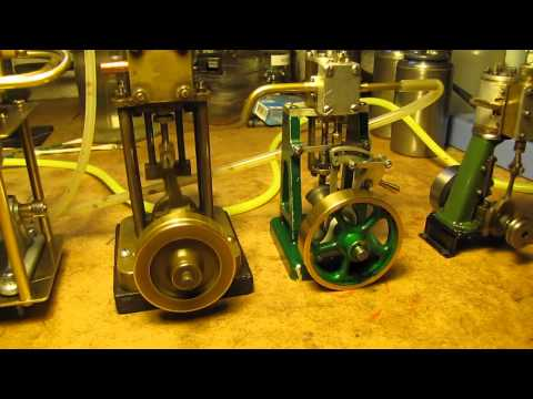 Four Model Marine Steam Engines Running on Air