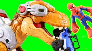Imaginext Jurassic World Fallen Kingdom Jurassic Rex Dinosaur Chases Spider-man & Owen In 4x4