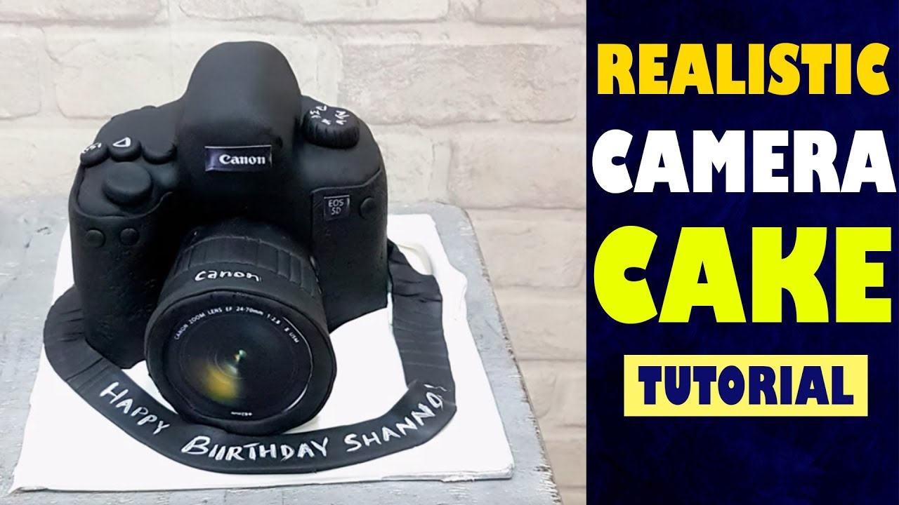 how to make camera cake realistic camera cake tutorial step by step making video by maaria. Black Bedroom Furniture Sets. Home Design Ideas