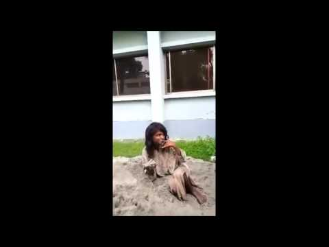 Funny Man Eating Soil