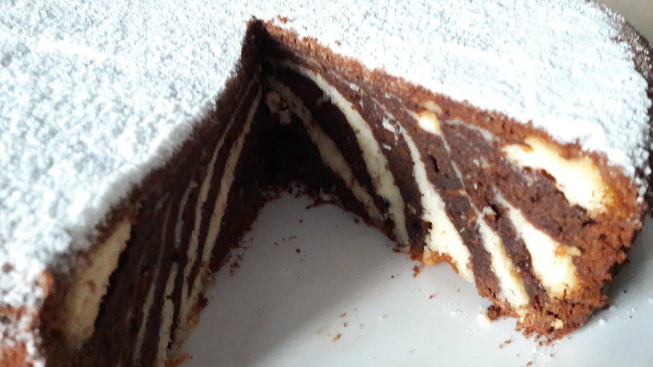 Торт Зебра с творогом (17) - YouTube