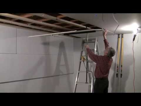 One man drywall installation on ceiling - YouTube
