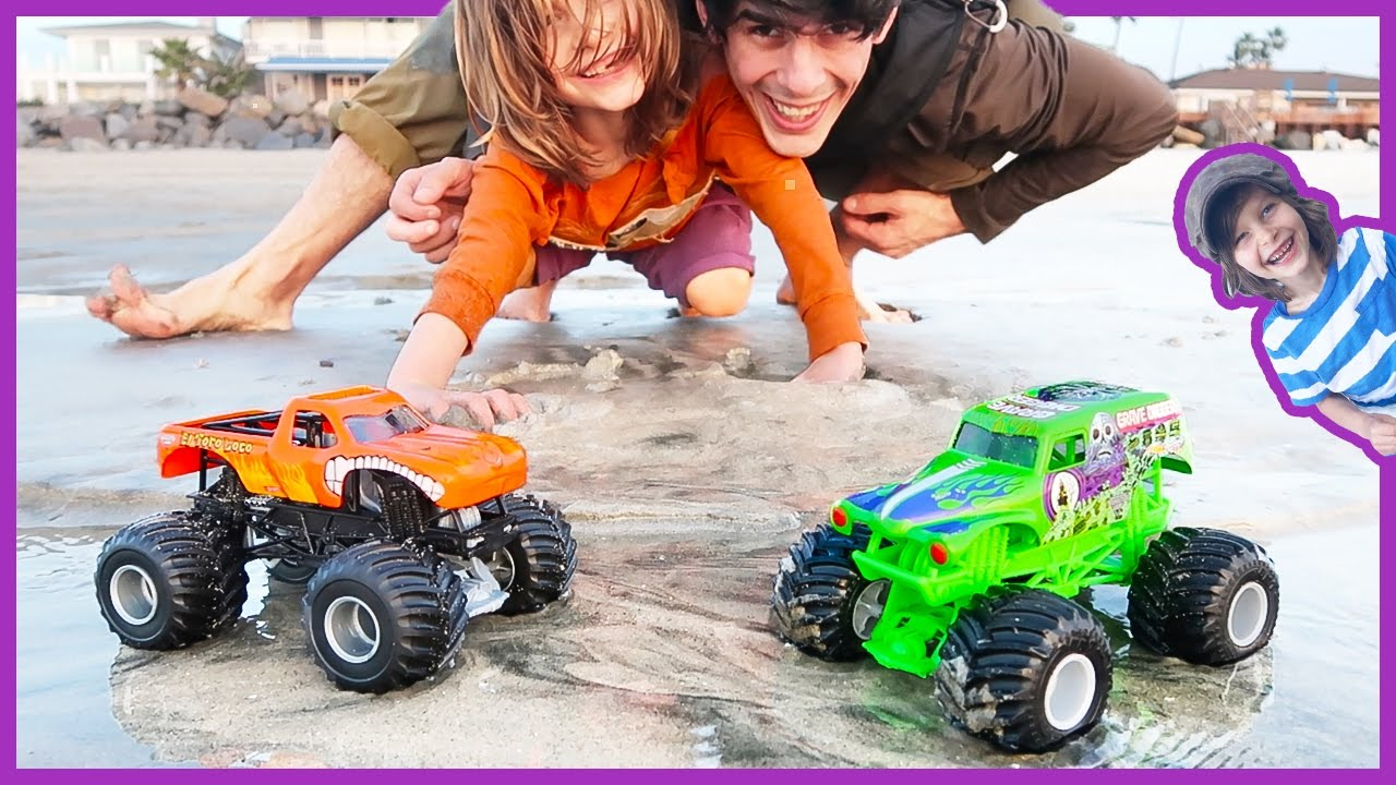 Monster Trucks Exploring At The Beach Youtube