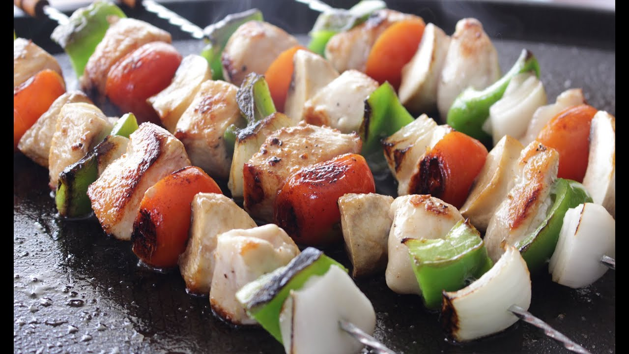 Brochetas De Pollo Con Verduras Youtube