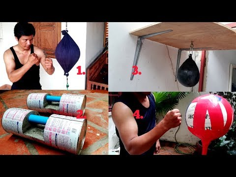 4 Awesome Homemade Double-End Bag. Dumbbell. Speed Bag. Standing Punching Bag.