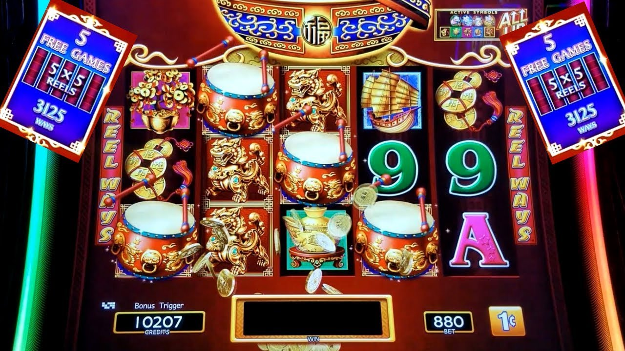 8 80 Max Bet Dancing Drums Slot Machine Bonus Big Win