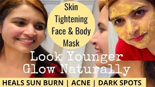 ANTI AGING SKIN TIGHTENING PAPAYA TURMERIC FACE BODY MASK REMOVE ACNE DARK SPOTS NATURALLY